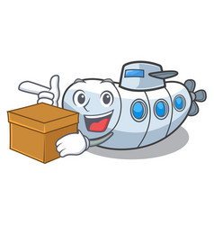 With box submarine in the a cartoon shape vector