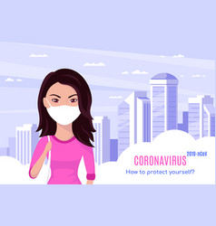 Woman wearing medical face mask in big city vector