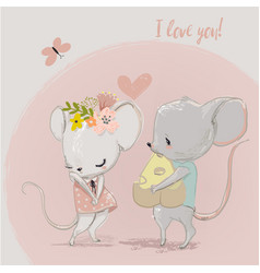 cute mouse couple vector image vector image