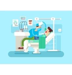 Dentist treats a patient vector image