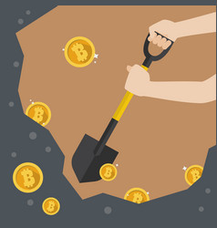 hand hold shovel digging for bitcoin vector image vector image