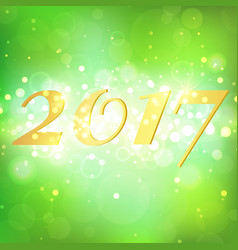 happy new year 2017 on green bokeh abstract vector image