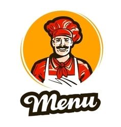 menu logo restaurant cafe or cook chef vector image vector image