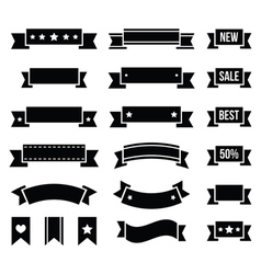 Retro ribbons vintage bookmarks set - vector image vector image
