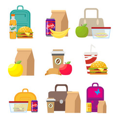 school lunch food boxes and kids bags vector image