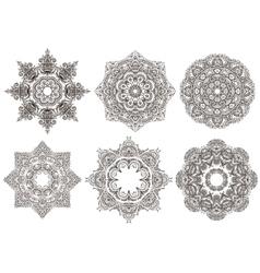 Set of 6 hand drawn oriental mandala vector image vector image