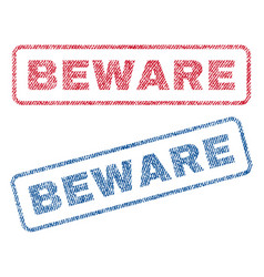beware textile stamps vector image