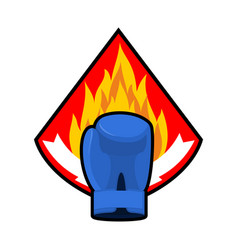 boxing glove and fire emblem logo for sport team vector image vector image
