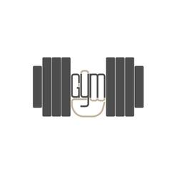 Dumbbell in hand logo element vector image