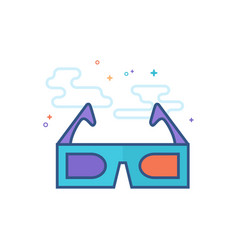 flat color icon - 3d glasses vector image