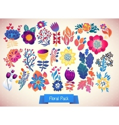 Flowers decorative set of doodle vector image vector image