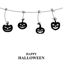 halloween pumpkin hang on the rope vector image