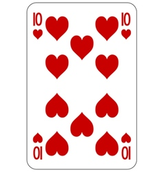 Poker playing card 10 heart vector image
