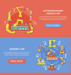 Robotic arm banner set vector