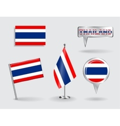 Set of Thailand pin icon and map pointer flags vector image vector image