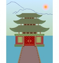 vector Buddhist temple on water vector image