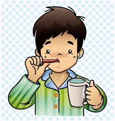A boy brushing her Teeth vector image vector image
