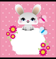 Easter bunny with butterflies vector image