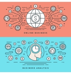 Flat line online business analysis concept vector