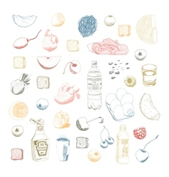 Hand drawn food set vector image