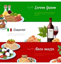 Italian food horizontal banners set vector