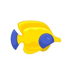 yellow-blue fish picture in flat design isolated vector image vector image