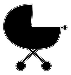 Baby carriage the black color icon vector