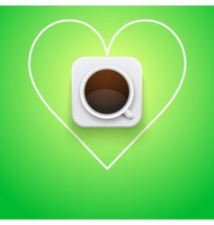 Background cup of coffee and heart vector image vector image