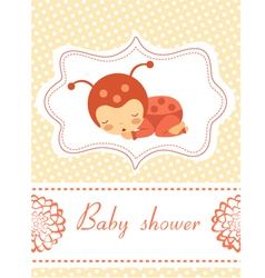 Card with baby ladybird vector image