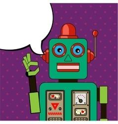 Cool Robot showing OK sign Pop art poster vector image vector image