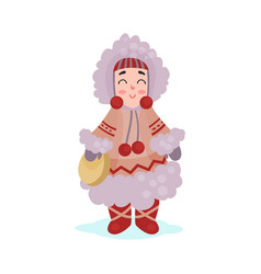 eskimos woman character dressed in national vector image