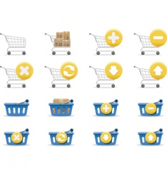 shopping carts and baskets vector image vector image
