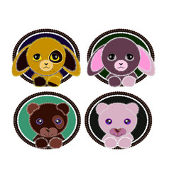 simple cute animals in round frames vector image