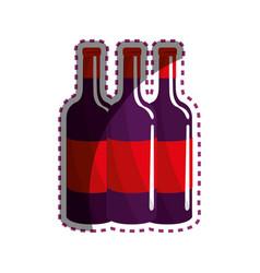Sticker tasty wine bottles beverage icon vector