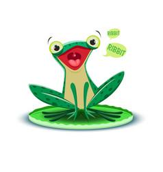 A cute frogling says ribbit vector