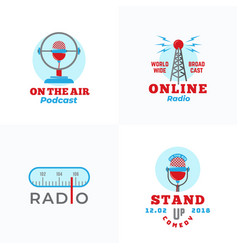 a set of radio emblems abstract broadcast vector image