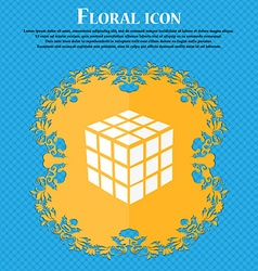 A three sided cube puzzle box in 3D icon Floral vector