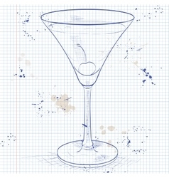 Alcoholic cocktail Rose on a notebook page vector image