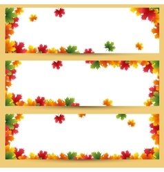 Autumn banners with maple leaves background vector image