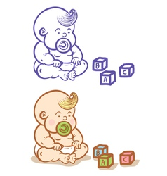 baby and cubes vector image