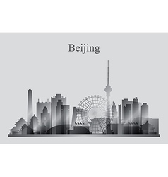 Beijing city skyline silhouette in grayscale vector image