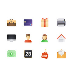 big icon set colored semi flat icons pack for vector image