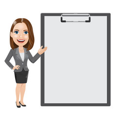 business woman with a big clipboard vector image