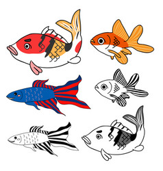 Carp goldfish siamese fighting fish set vector