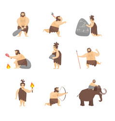 cartoon characters caveman cute people set vector image