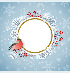 christmas background with snowflakes and bullfinch vector image