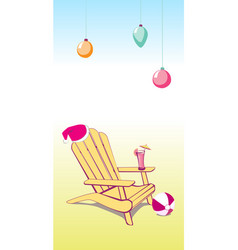 Christmas summer beach chair vector