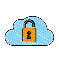 cloud unlocked padlock vector image