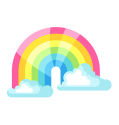 clouds and rainbow in sky vector image