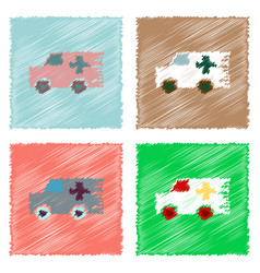 Collection flat shading style icons ambulance vector